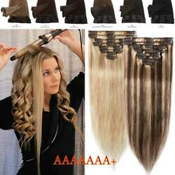 CLEARANCE Clip In 100% Real Remy Human Hair Extensions Balayage Ombre Full Head
