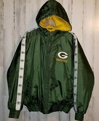 Nfl Game Day Green Bay Packers Hooded Quilted Jacket Size Large 90and039s