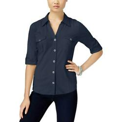 Style & Co. Womens Navy Collared Button-Down Top Shirt Petites PL BHFO 5317