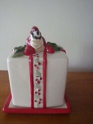 Blue Sky Ceramics Covered Butter Dish Woodlands Collection Red And White Bird