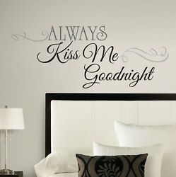 ALWAYS KISS ME GOODNIGHT Quote Peel amp; Stick Wall Decals Decor Bedroom Stickers
