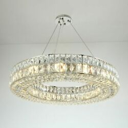 Stainless Chandeliers Modern Lighting Hanging Lamps Chrome Ring With Led Glasses