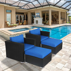 2pcs Wicker Rattan Sectional Sofa Set With Seat Cushions Garden Couch Royal Blue