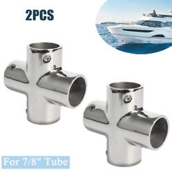 7/8 Tube Cast Boat Hand Rail Fitting 4 Way Cross Tube Pipe Connector Tee Joint
