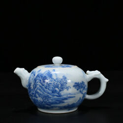5.9 Old Qianlong Marked Blue And White Porcelain Painting Scenery House Tea Pot