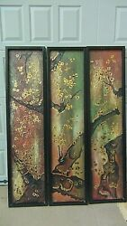 Set Of 3 Antique Chinese Modernist Hanging Panels Acrilicandoil Painting On Boards