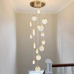 Chandelier Led Lighting Indoor Bubble Crystals Loft Staircase Contemporary Style