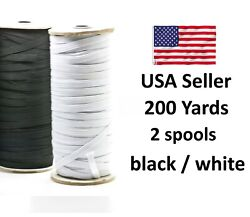 1/4 Inch Thin Elastic Band Trim For Diy Face Mask White Black 200 Yards In Stock