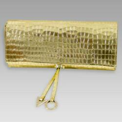 Valentino Orlandi Designer Envelope Clutch Purse Gold Croc Embossed Leather Bag