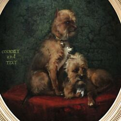 Antique Painting Oil On Canvas Portrait Of Small Dogs 19th Century