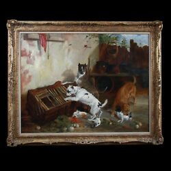 Antique original oil painting on canvas dogs Terriers raiding a rabbit hutch