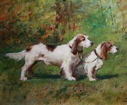 Fine original French antique oil painting on canvas terrier hunting dogs frame