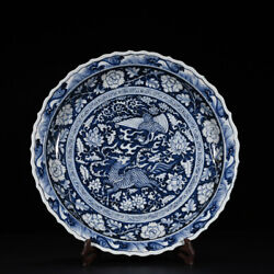 18.1 Old Yuan Dynasty Blue And White Porcelain Painting Phoenix Kylin Plate