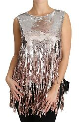 Dolce And Gabbana Silver Pink Sequined Fringe Tank Top It42 / Us8 / M Rrp 7800