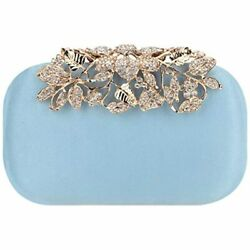 Flower Purse With Rhinestones Velvet Clutch Evening Bags AB Lake Blue Handbags $42.99