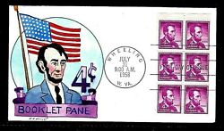 1036a 4c Stamp Booklet 1958 - Abraham Lincoln - Wright Hand Painted Fdc Ua
