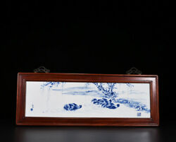 32.8 Marked Republic China Blue And White Porcelain Painted Mandarin Duck Plate