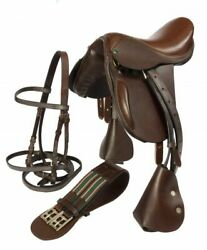 All Purpose Jumping Premium Leather English Horse Saddle + Bridle,reins, And Girth