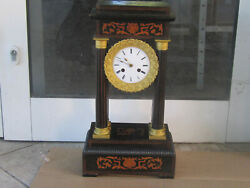 Antique French Portico Column Clock 19th C. Working