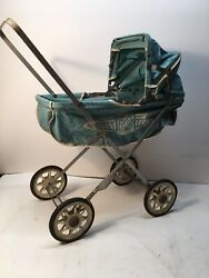 Vintage Coronet Baby Doll Carriage Stroller Blue Foldable Very Nice Nice Shape