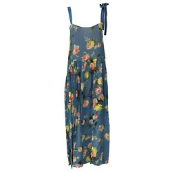 Semicouture Women's Dress Straps Fantasy Flowers Blue Over Mod. S0/s/s0ss04