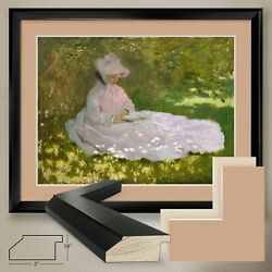 40wx32h Springtime The Reader By Claude Monet - Double Matte Glass And Frame