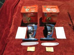 Nos Pair Us Pioneer Fleetview Chrome Side View Mirrors W/ Instructions Hardware