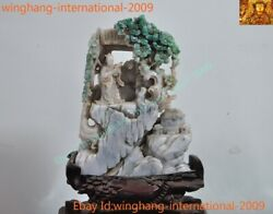 Natural Emerald Green Jade Jadeite Carved House Flower People Man Reading Statue