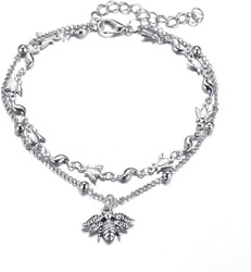 Double-layer ankle chain Women Little bee silver Anklet girl bracelet Adjustable