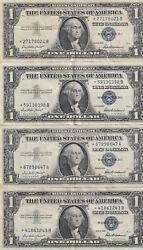 Lot Of 4 1957 Star Note Blue Seal Silver Certificate In Great Condition