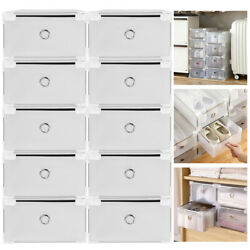 10 20Pc Foldable Plastic Shoe Box Storage Metal Frame Drawer Stackable Organizer