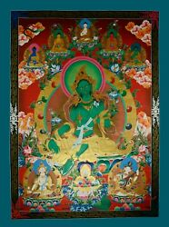 Gold Detailed Hand Painted Green Tara Cotton Canvas Thangka Scroll Painting