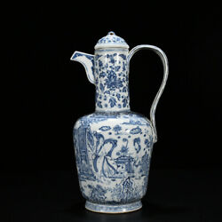 15.7 Old Antique Chinese Porcelain Ming Zhengde Blue White Maid Flower Teapot
