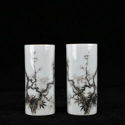 Old Yongzheng Marked Ink Color Porcelain Painting Bamboo Plum Blossom Brush Pot