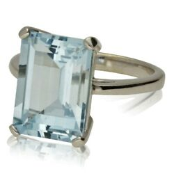 New 18ct White Gold Solitaire Aquamarine Cocktail Ring. Was Andpound2250