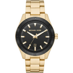 Michael Kors MK8816 Gents Layton 44mm Black on Gold Timepiece NIB