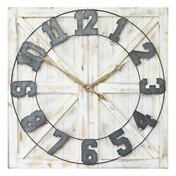 Stratton Home Decor Rustic Wood And Metal Farmhouse Mounted Wall Clockopen Box