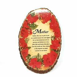 Natural Wood Slab Tree Bark Plaque Wall Hanging Mother Roses Decorative 10 Tall