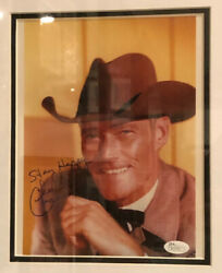 Very Rare Chuck Connors Jsa Signed And Inscribed The Rifleman Color Photo Psa Bas