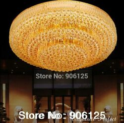 Golden Led Lights Ceiling Fixture Crystal Cake Shape Traditional Beautiful Style