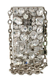 Dolce And Gabbana Bag Purse Cross Body Silver Crystal Brass Crystal Rrp 5800