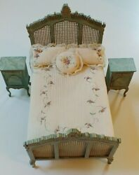 Sale Vintage Signed M. Hastings Miniature Bed And 2 Night Stands.andnbsp New W/o Box