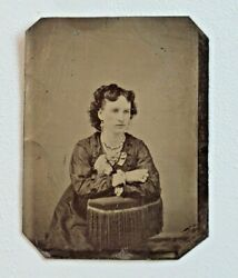 Antique Tin Type Photo Woman In Nice Dress And Lots Of Jewelry Blush Cheeks 6369