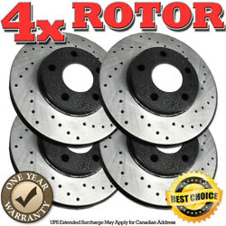 Rh1051 Front+rear Cross Drilled Brake Rotors For 2012 2013 Ford Explorer Not-hd