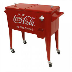 Rolling Coca Cola Cooler Ice Chest Cart 80 Qt W/attached Bottle Opener Red Steel