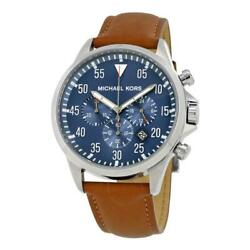 Michael Kors Gage Gents Chronograph Blue Brown Leather Strap MK8490 Mens Watch