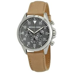 Michael Kors Gage Gents Chronograph Grey Brown Leather Strap MK8616 Mens Watch