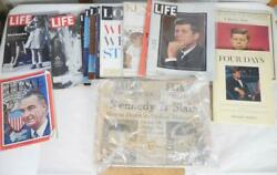 John F Kennedy Jfk Memorabilia Collection Lot Of Lps Book Magazines Newspapers