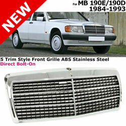 For Mb 84-93 190eand 190d | Chrome Steel 5 Trim Style Front Bumper Radiator Grille