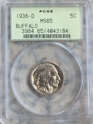 1938-d Buffalo Nickel Pcgs Ms65 Ogh Superb Quality Coin Scarce Gen 3.0 Holder